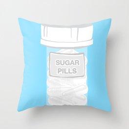 Sugar Pill Bottle Bule Throw Pillow