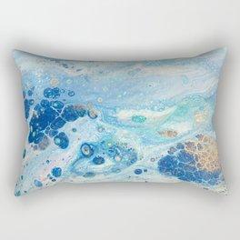 Under the Sea - Blue Abstract Acrylic Pour Art Rectangular Pillow