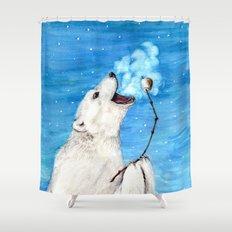 Polar Bear with Toasted Marshmallow Shower Curtain