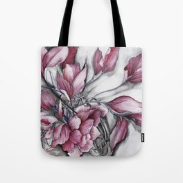 """Dancing"" in red, abstract floral ink watercolor drawing Tote Bag"