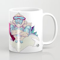 snowboard Mugs featuring Snowboard Yeti by garciarts