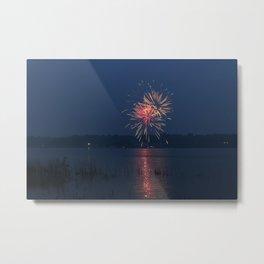 Fireworks Over Lake 15 Metal Print