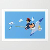 kiki Art Prints featuring Kiki by 8-bit Ghibli