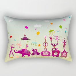 colorful circus carnival traveling in one row during daylight Rectangular Pillow