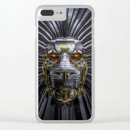 Hear Me Roar / 3D render of serious metallic robot lion Clear iPhone Case