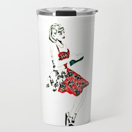 C in red dress Travel Mug