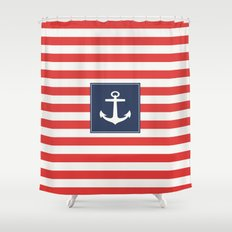 Anchor on red and white stripes Shower Curtain