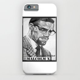 Print of free hand graphite pencil drawing of Malcolm X iPhone Case