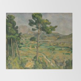 """Paul Cezanne """"Mountain Sainte-Victoire and the Viaduct of the Arc River Valley"""" Throw Blanket"""