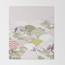 scales simple Nature background with japanese sakura flower, rosy pink Cherry, wave circle pattern Throw Blanket