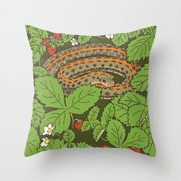 Snake & Strawberries Throw Pillow