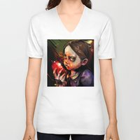 sister V-neck T-shirts featuring Little Sister by Vincent Vernacatola