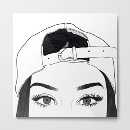 GIRL-FACE-DRAW Metal Print