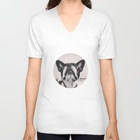 french bulldog V-neck T-shirts featuring French Bulldog by lori