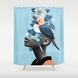Girl with parrot Shower Curtain