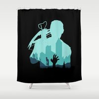zombies Shower Curtains featuring Sniping Zombies!!! by Foffo