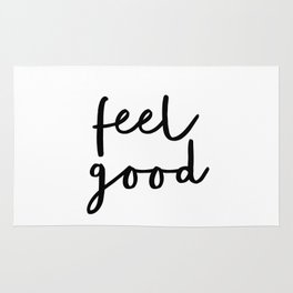 Fell Good black and white contemporary minimalism typography design home wall decor bedroom Rug