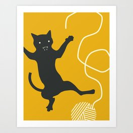 CAT AND STRING Art Print