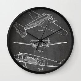 Lockheed Airplane Patent - Electra Aeroplane Art - Black Chalkboard Wall Clock