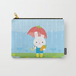 Bunny in the Rain Carry-All Pouch