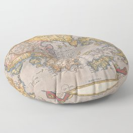 Vintage Map Print - 1584 map of Greece and Western Turkey by Abraham Ortelius Floor Pillow