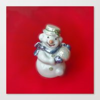 snowman Canvas Prints featuring Snowman  by Svetlana Korneliuk
