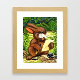 RABBIT WRITING A LETTER Framed Art Print