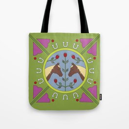 Horse Folk Art Illustration Tote Bag
