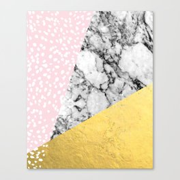 Trini - abstract painting texture gold pastel pink marble trendy hipster minimal art design bklyn  Canvas Print