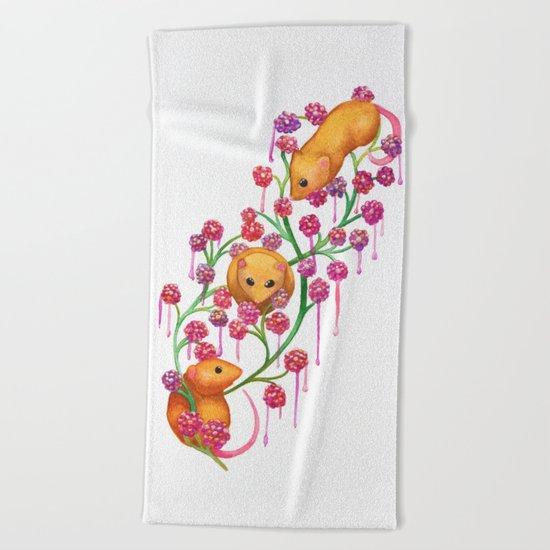 Watercolour Mice in the Bush Beach Towel