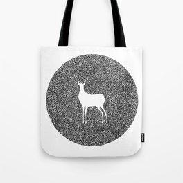 Deer Mandala 2 black-white Tote Bag