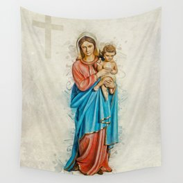 Virgin Mary And Jesus Wall Tapestry