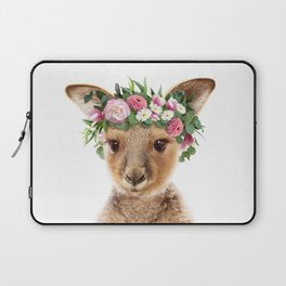 Baby Kangaroo With Flower Crown, Baby Animals Art Print By Synplus Laptop Sleeve