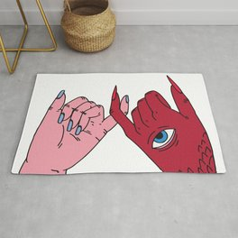 pinky swear friendship devil satan human friends Rug
