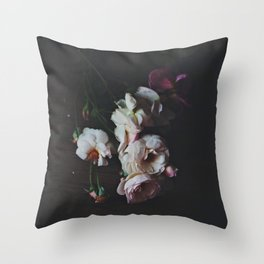English Roses Still Life - Dark Number Two Throw Pillow