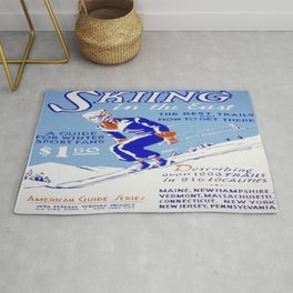 Vintage poster - Skiing in the East Rug