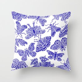 Butterfly Pattern Navy White Stamp Throw Pillow