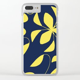Leafy Vines Yellow and Navy Blue Clear iPhone Case