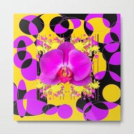 Artful Modern Purple & Gold Black Orchid Design Metal Print