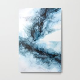 Blue Ice Phoenix Abstract Flow Painting Metal Print
