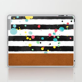 Watercolor splatters with brown leather Laptop & iPad Skin