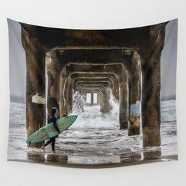 Surfer in Manhattan Beach, California Wall Tapestry