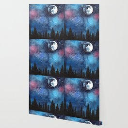 Watercolor Landscape Moon and Trees at Night Wallpaper