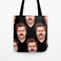 swanson Tote Bags featuring Swanson by Skeleton Jack