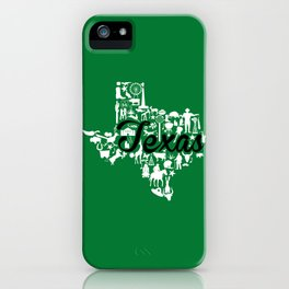 North Texas University Landmark State - Green and Black North Texas University Theme iPhone Case