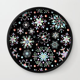 Prismatic Snowflakes Wall Clock