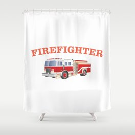 Firefighter Fire Truck Shower Curtain