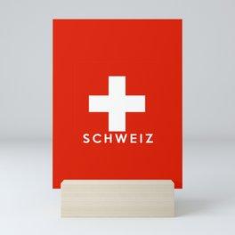 Switzerland country flag Schweiz name text Mini Art Print