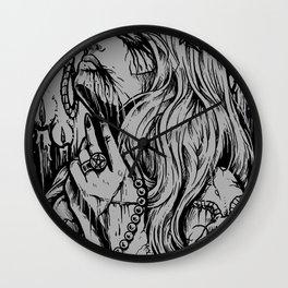 Dark Girl death Satanic pentagram Satanic brutal metal band Wall Clock