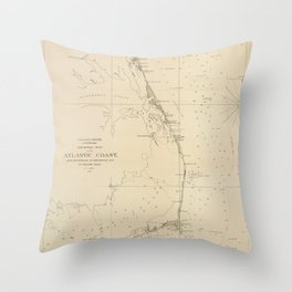 Vintage North Carolina and Virginia Coastal Map Throw Pillow